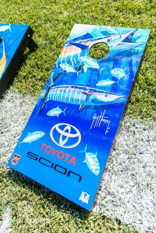 The cornhole boards for the bean bag competition were decorated with Guy Harvey art work.