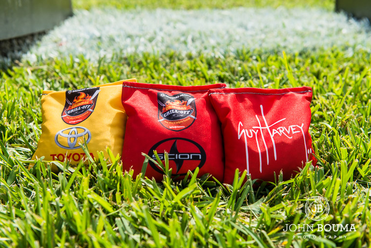 A few of the custom cornhole beanbags with some of the big sponsors, Toyota, Scion and Guy Harvey.