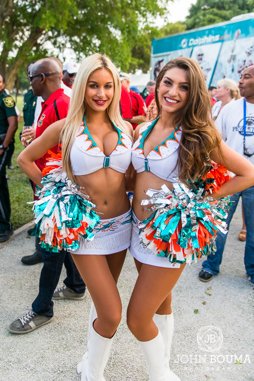 No Miami Dolphin event would be complete without a couple Dolphin cheerleaders.